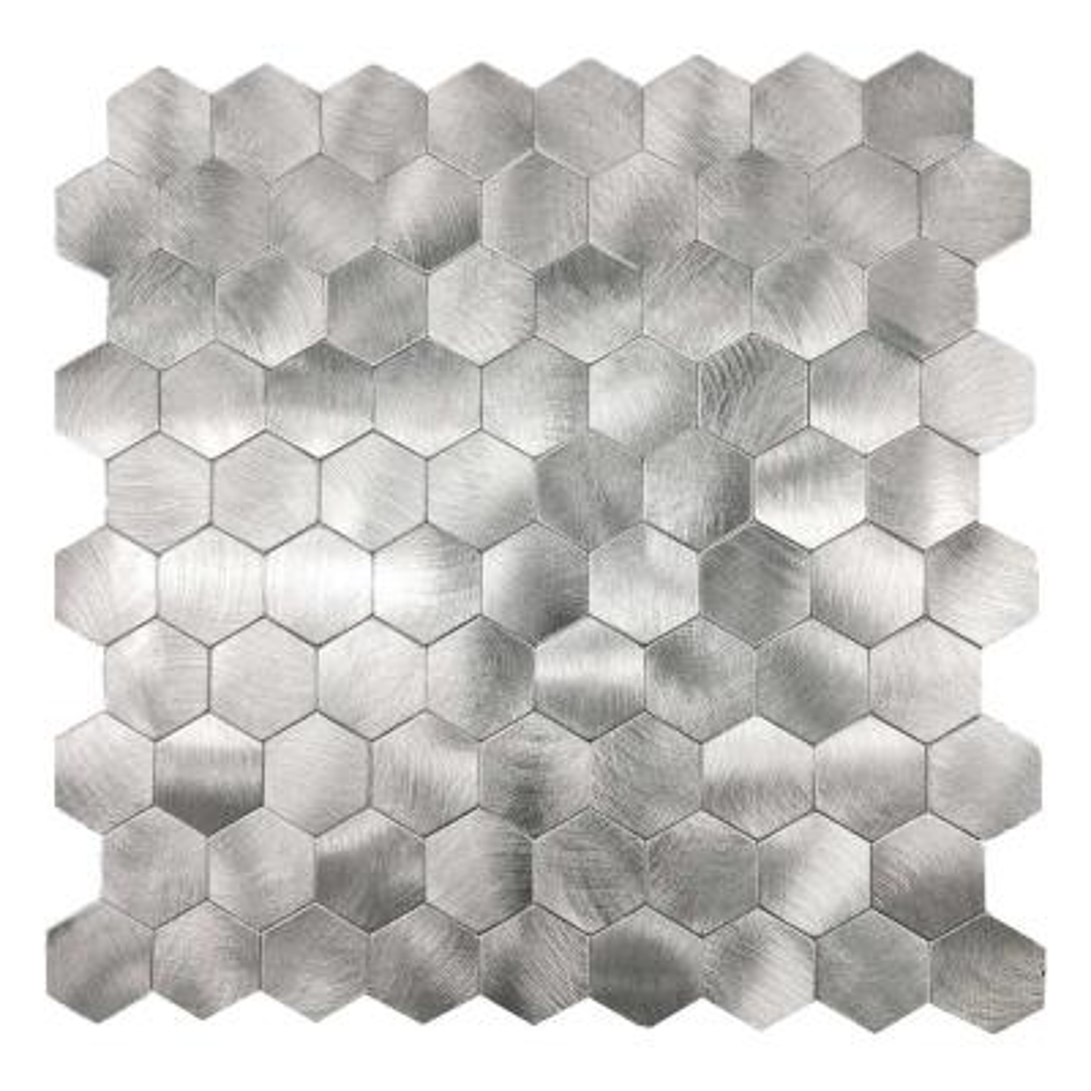 DIP Silver Hexagon 12 in. x 12 in. Metallic Mosaic Peel and Stick Tile Backsplash (10 sq. ft./case)