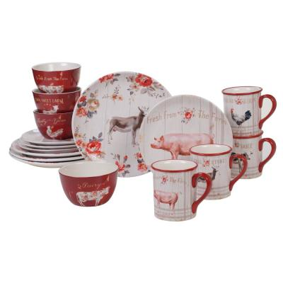 Farmhouse 16-Piece Multi-Colored Dinnerware Set
