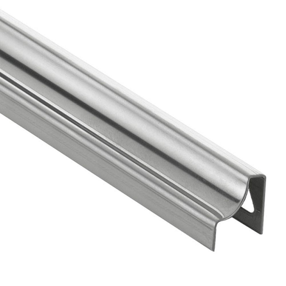 Schluter Dilex-HKU Brushed Stainless Steel 5/16 in. x 8 ft. 2-1/2 in. Metal Cove-Shaped Tile Edging Trim