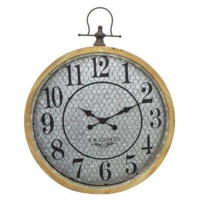 24.5 in. x 2.5 in. Wood and Metal Clock in Brown
