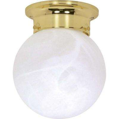 Glomar Elektra 1 Light Polished Brass Mount Light With Alabaster Glass Hd 255 The Home Depot