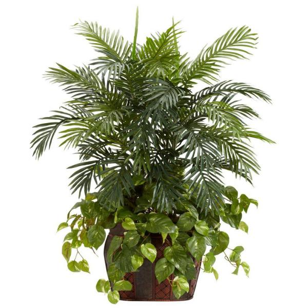Nearly Natural 3.5 ft. Green Double Areca with Vase and Pothos
