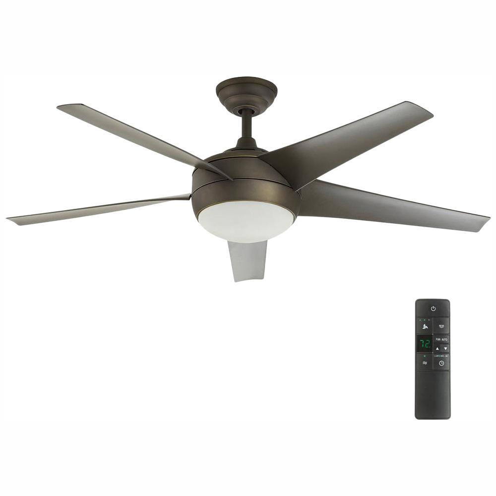 Home Decorators Collection Windward IV 52 in. LED Indoor Oil-Rubbed Bronze Ceiling Fan with Light Kit and Remote Control