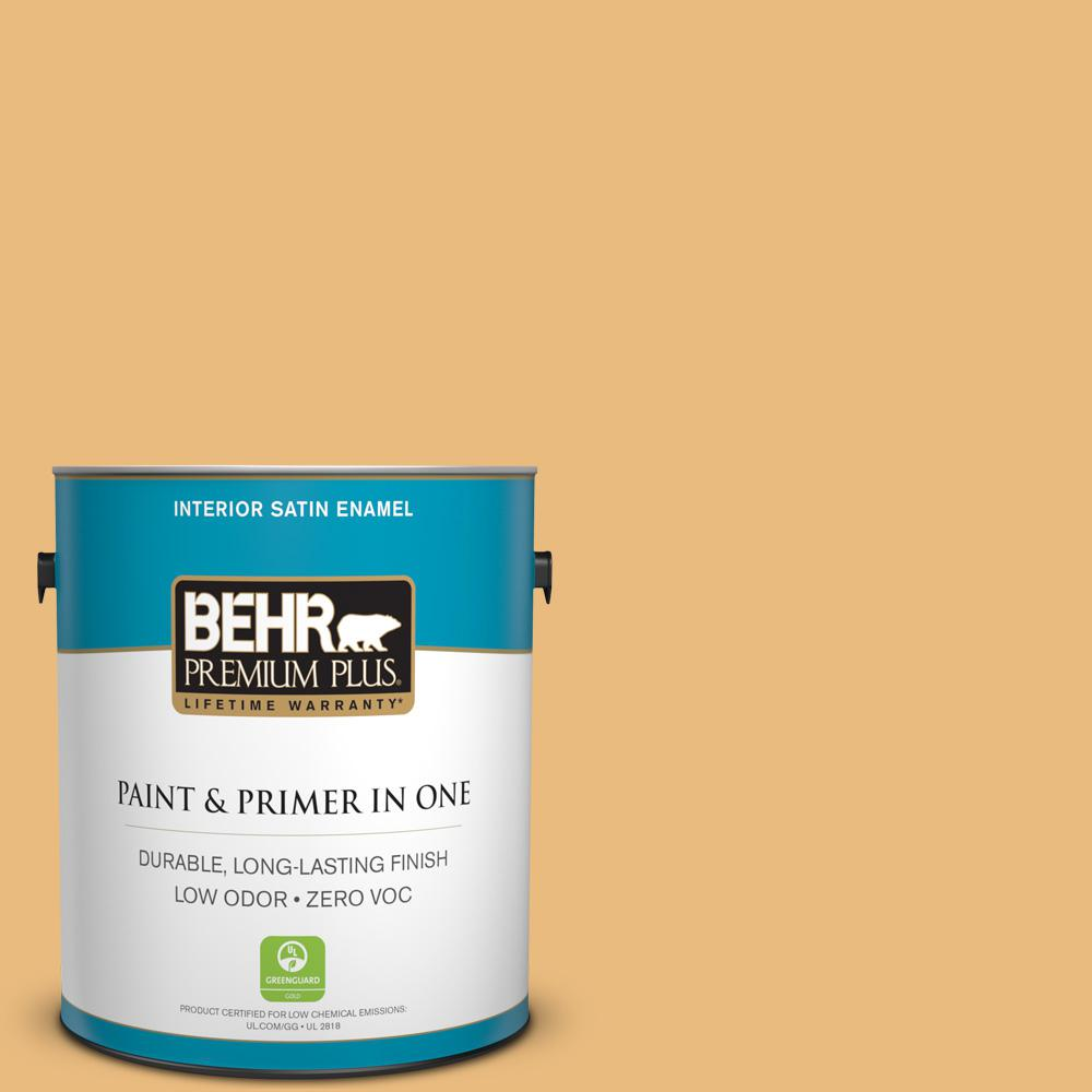 BEHR Premium Plus 1-gal. #310D-4 Gold Buff Zero VOC Satin Enamel Interior Paint
