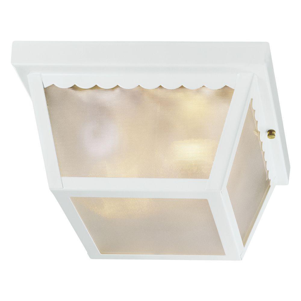 White 2-Light Outdoor Flush Mount