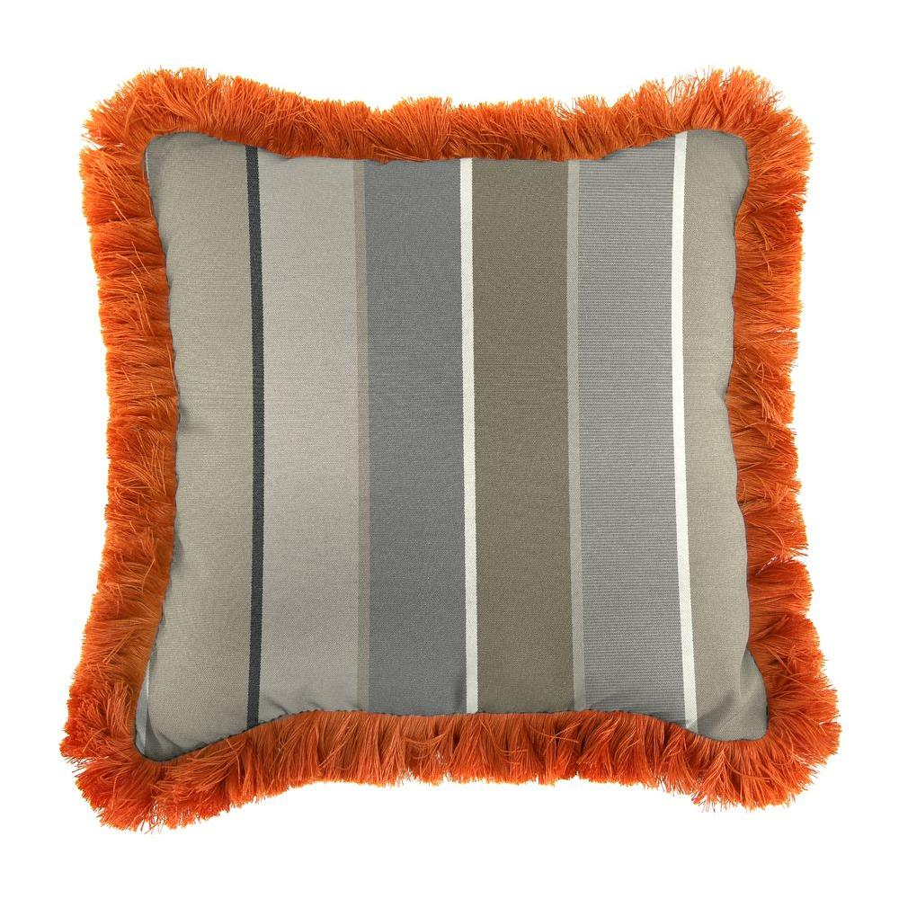 Jordan Manufacturing Sunbrella Milano Charcoal Square Outdoor Throw Pillow with Tuscan Fringe