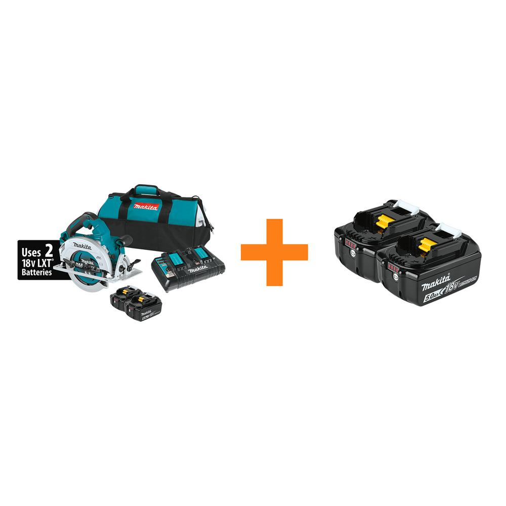 Makita 18-Volt X2 LXT (36-Volt) Brushless Cordless 7-1/4 in. Circular Saw Kit 5.0Ah with Bonus 18V LXT Battery Pack 5.0Ah was $568.0 now $249.0 (56.0% off)