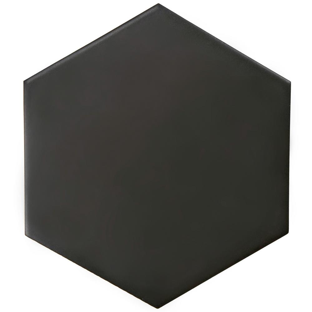 Merola Tile Hexatile Matte Nero 7 in. x 8 in. Porcelain Floor and Wall Tile (7.67 sq. ft. / case)
