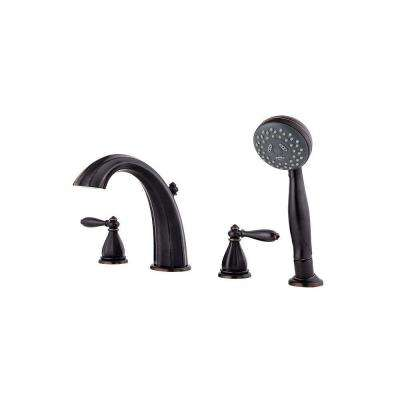 Portola 2-Handle Deck Mount Roman Tub Faucet with Handshower Trim Kit in Tuscan Bronze (Valve Not Included)