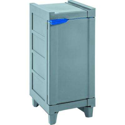 27.80 in. H x 12.90 in. W x 15.90 in. D Storage Cabinet Grey with Blue Accents