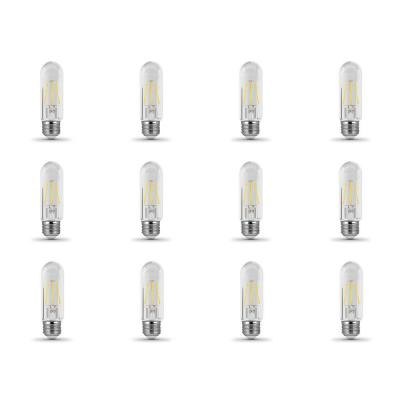 40-Watt Equivalent T10 Dimmable Filament CEC Title 20 Compliant LED 90+ CRI Clear Glass Light Bulb, Soft White (12-Pack)