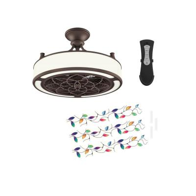 Anderson 22in. LED Indoor/Outdoor Bronze Ceiling Fan with Remote Control and Vine Insert Panel