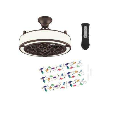 Anderson 22 in. LED Indoor/Outdoor Bronze Ceiling Fan with Remote Control and Vine Insert Panel