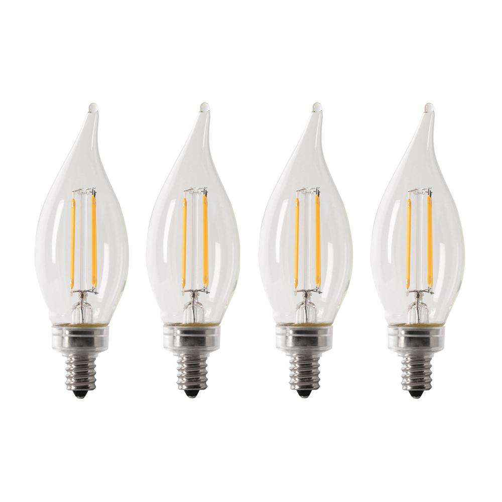 Feit Electric 40-Watt Equivalent CA10 Candelabra Dimmable Filament CEC Clear Glass Chandelier LED Light Bulb, Daylight (4-Pack)