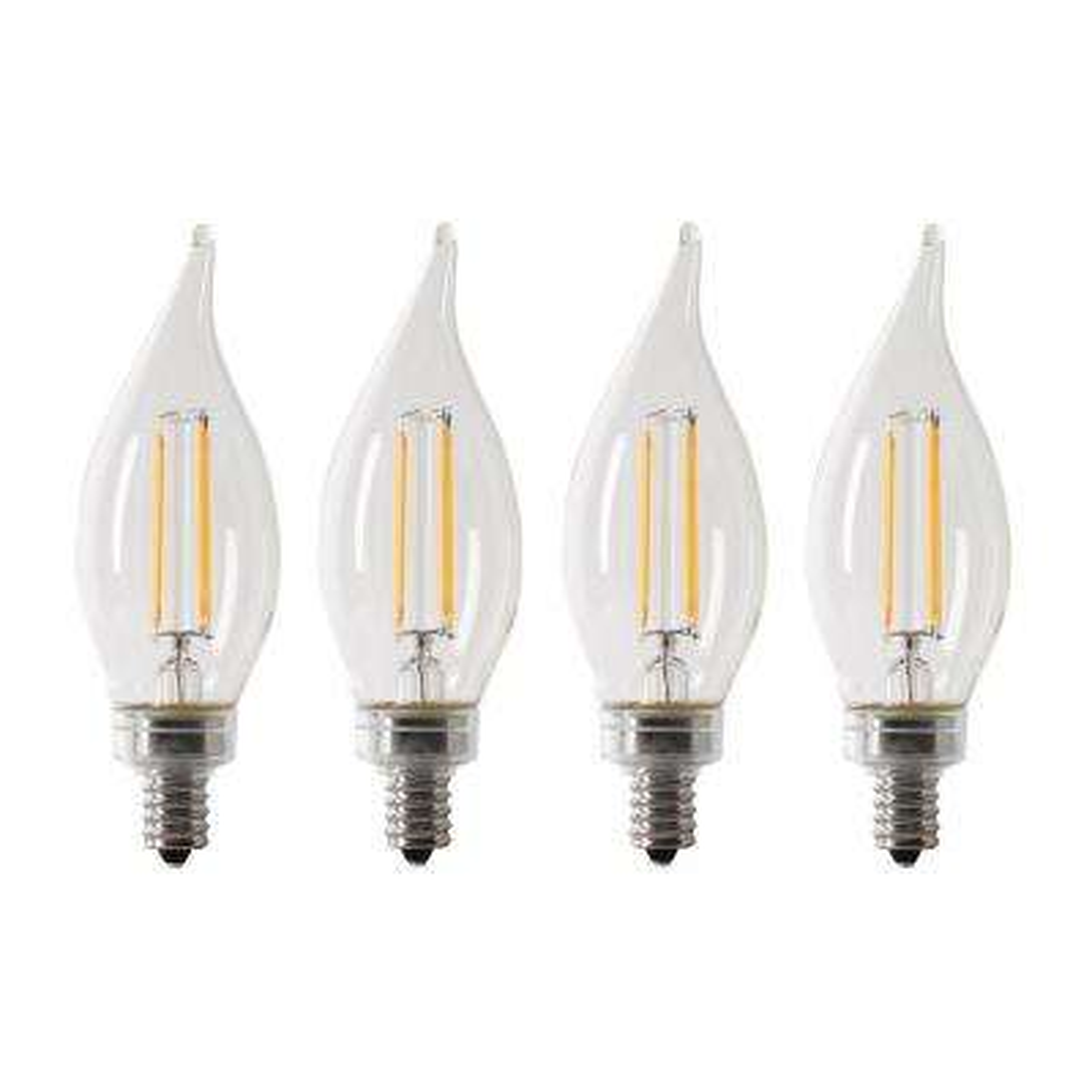 40-Watt Equivalent CA10 Candelabra Dimmable Filament CEC Clear Glass Chandelier LED Light Bulb, Daylight (4-Pack)