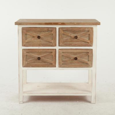 Rustic Antique White Console Cabinet with 4 Drawers