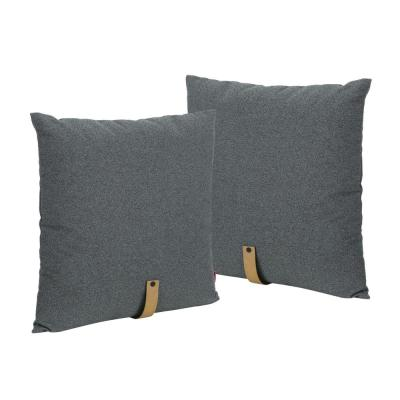 Edinburgh Charcoal, Golden Tan Solid Polyester 20 in. x 20 in. Throw Pillow (Set of 2)