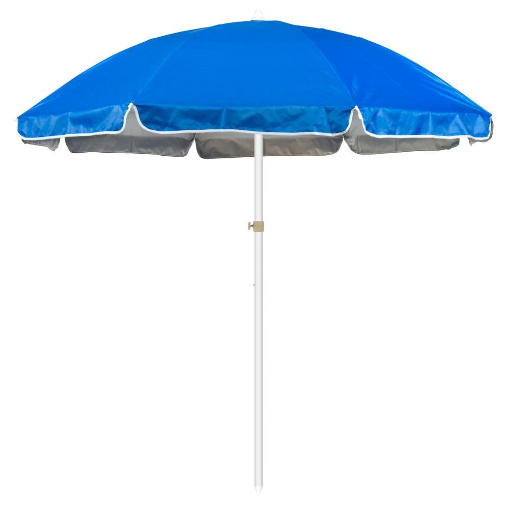 Market Portable Beach and Sports Patio Umbrella in Blue - Trademark Innovations 6.5 Ft. Market Portable Beach And Sports Patio