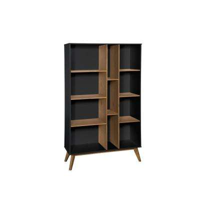 Vandalia Dark Grey and Natural Wood Bookcase