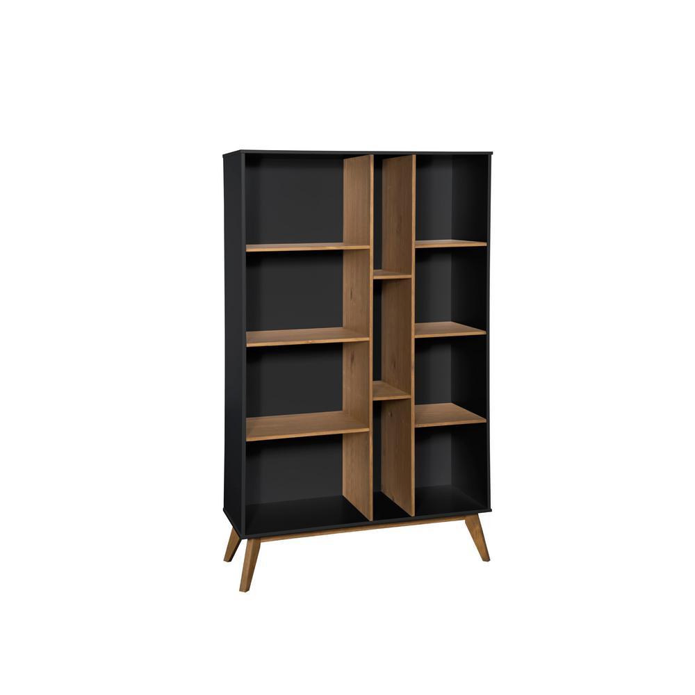 Manhattan Comfort Vandalia Dark Grey and Natural Wood Bookcase CS92409