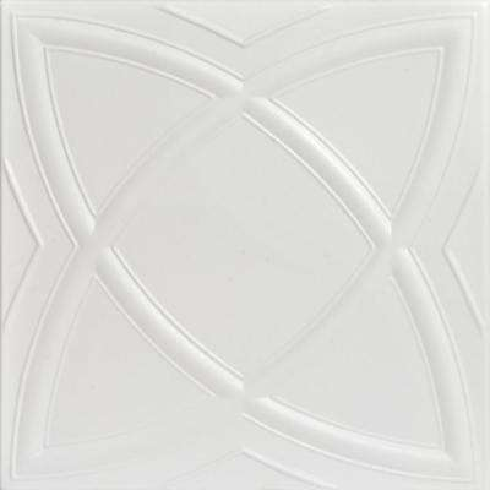 Elliptic Illusion 1.6 ft. x 1.6 ft. Foam Glue-up Ceiling Tile in Dove White