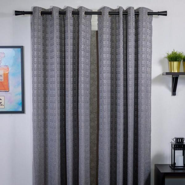 Art Decor 48 In 84 In Adjustable 1 In Single Curtain Rod Set In Black With Clarice Finial Haa8715 Dw The Home Depot