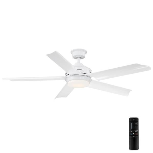 Hansfield 56 in. LED Outdoor White Ceiling Fan with Remote Control