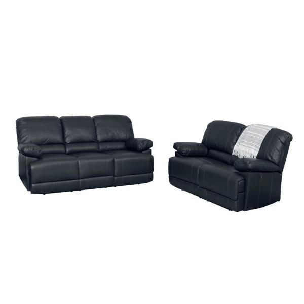 CorLiving Lea 2-Piece Black Bonded Leather Power Recliner Sofa and Chair