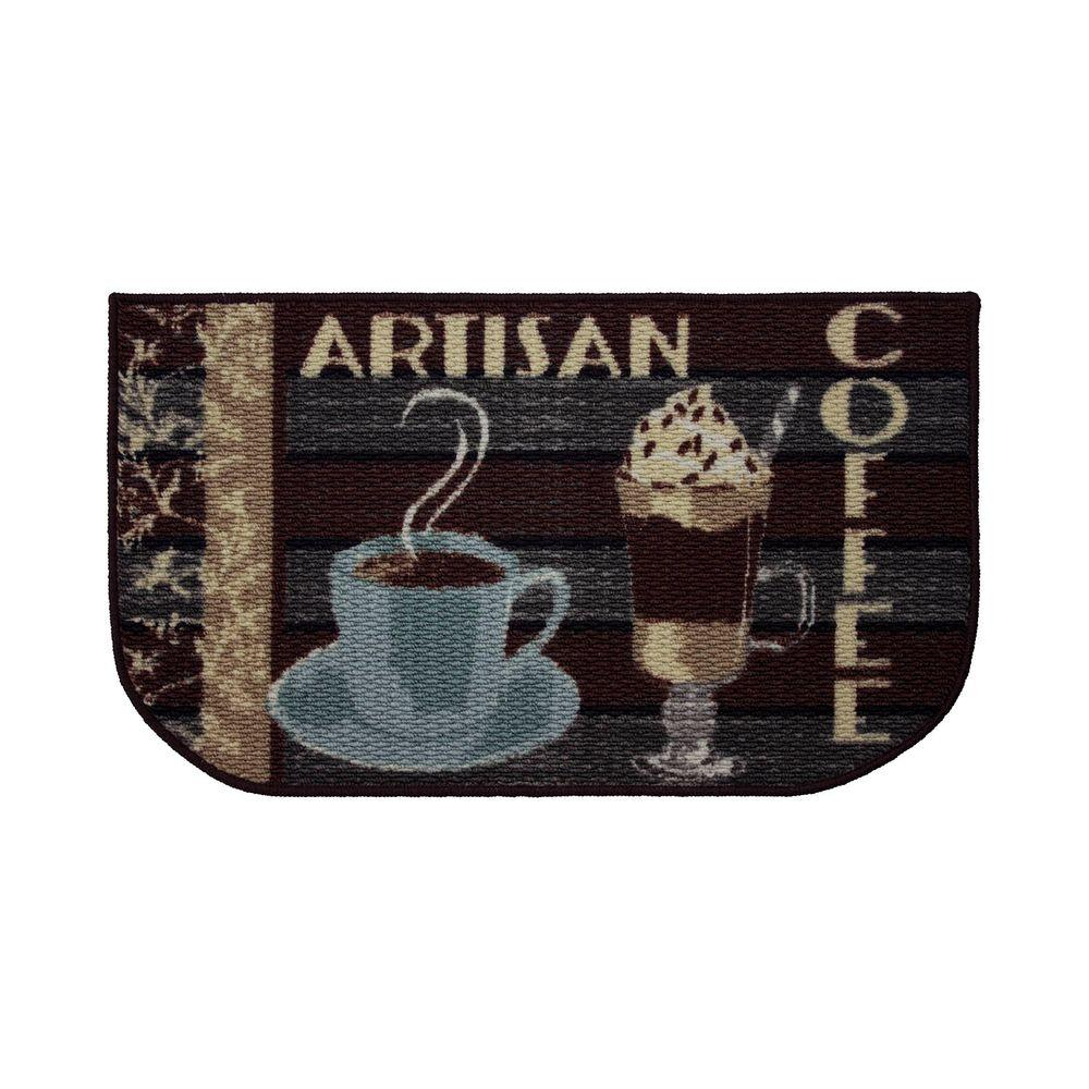 Structures Artisan Coffee 18 In X 30 In Textured Wedge Shaped Slice Kitchen Rug