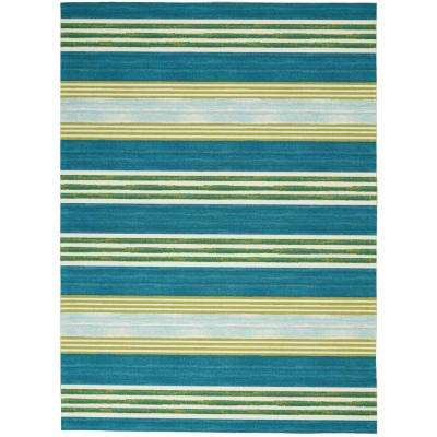 Sun N Shade Striped Green/Teal 5 ft. 3 in. x 7 ft. 5 in. Area Rug