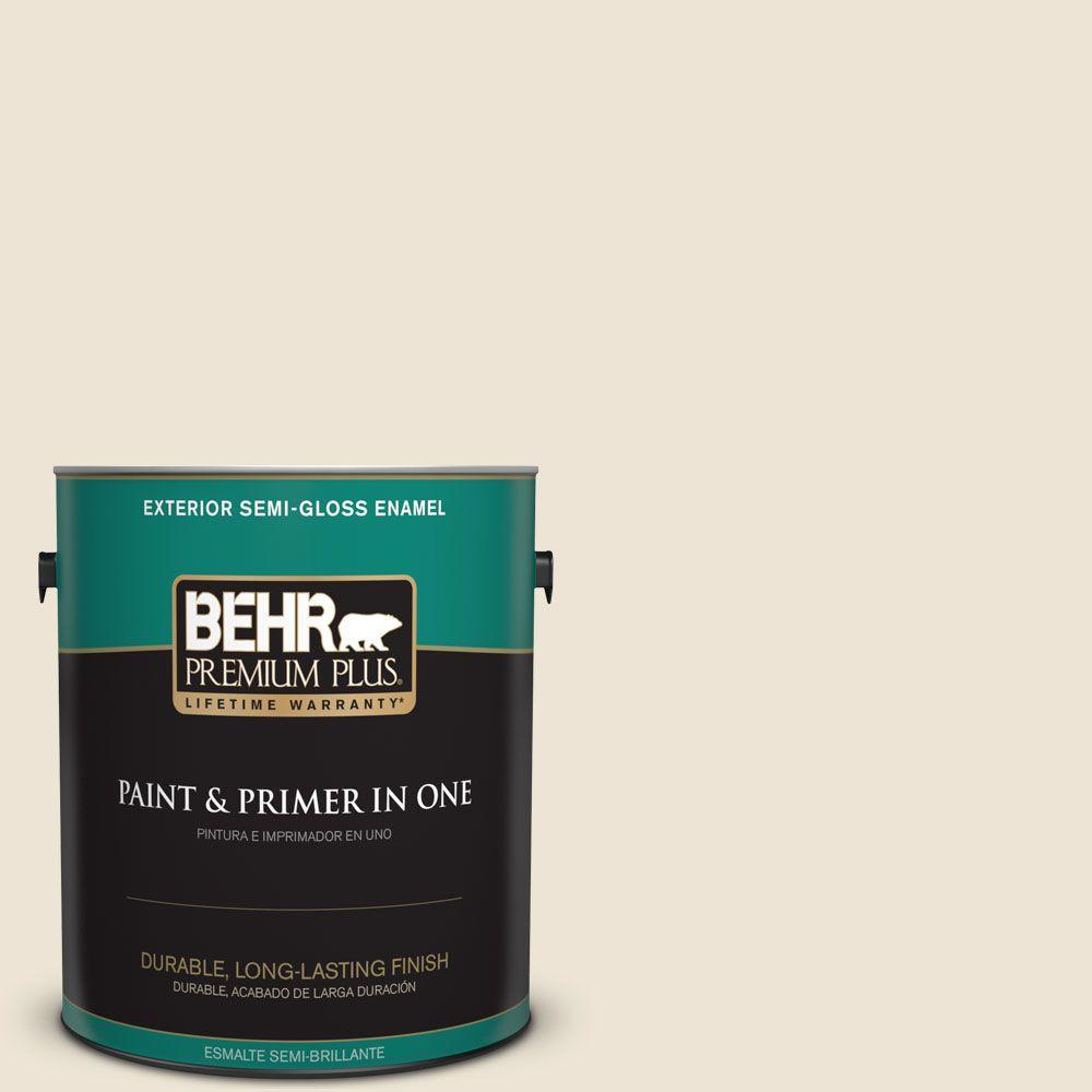 BEHR Premium Plus 1-gal. #T14-3 Miami Weiss Semi-Gloss Enamel Exterior Paint