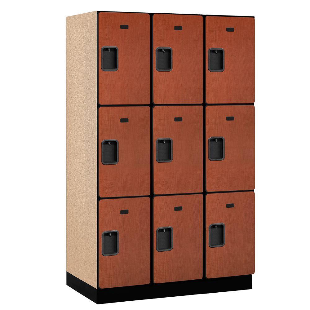 23000 Series 3-Tier Wood Extra Wide Designer Locker in Cherry - 15 in. W x 76 in. H x 21 in. D (Set of 3)