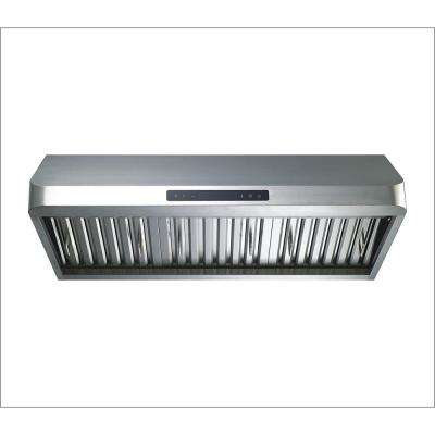 36 in. Ducted 600 CFM Under Cabinet Range Hood in Stainless Steel with Baffle filters , Gas Sensor and Touch Control