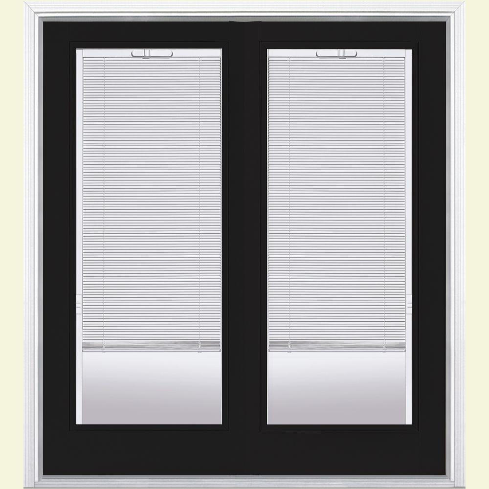 Masonite 72 In X 80 In Jet Black Fiberglass Prehung Left Hand Inswing Mini Blind Patio Door With Brickmold