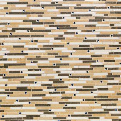 Evermore Orange and Brown 11.25 in. x 12 in. x 8 mm Marble Mosaic Wall Tile (.93 Sqft/ Case)