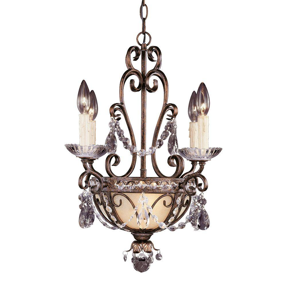 Illumine 6-Light Mini Chandelier New Tortoise Shell w/Silver Gold Finish Clear Crystals