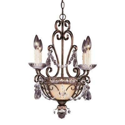 6-Light Mini Chandelier New Tortoise Shell w/Silver Gold Finish Clear Crystals