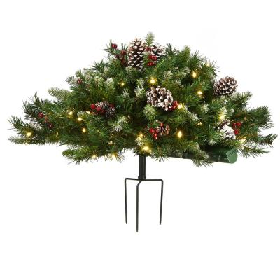 33 in. Artificial Christmas Swag Frosted Berry Urn Filler w/Cones, Red Berries, Tripod Stake & 100 Warm White LED Lights
