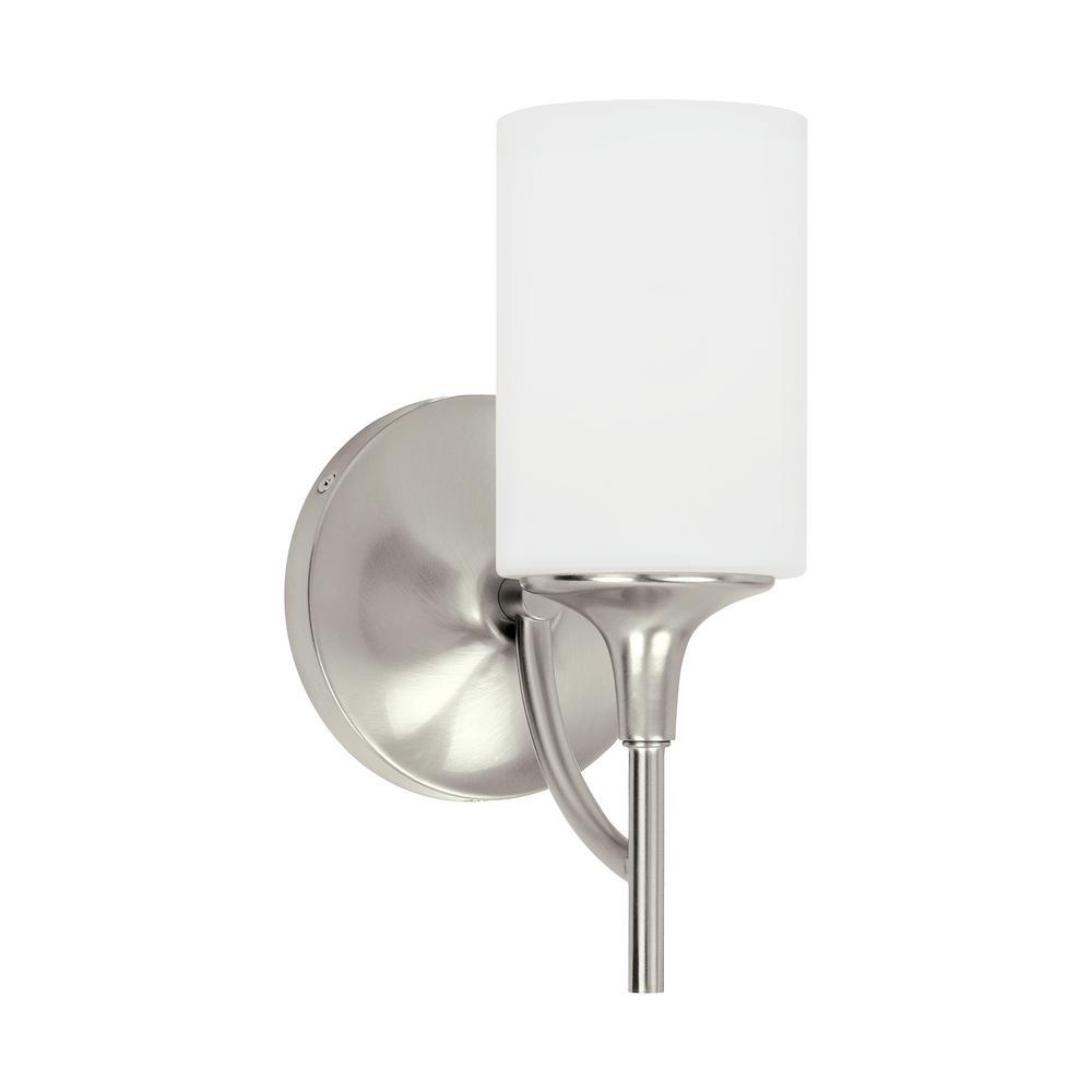 Stirling 1-Light Brushed Nickel Sconce with LED Bulb