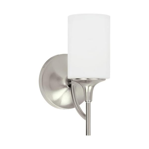 Stirling 1-Light Brushed Nickel Sconce with LED Bulb