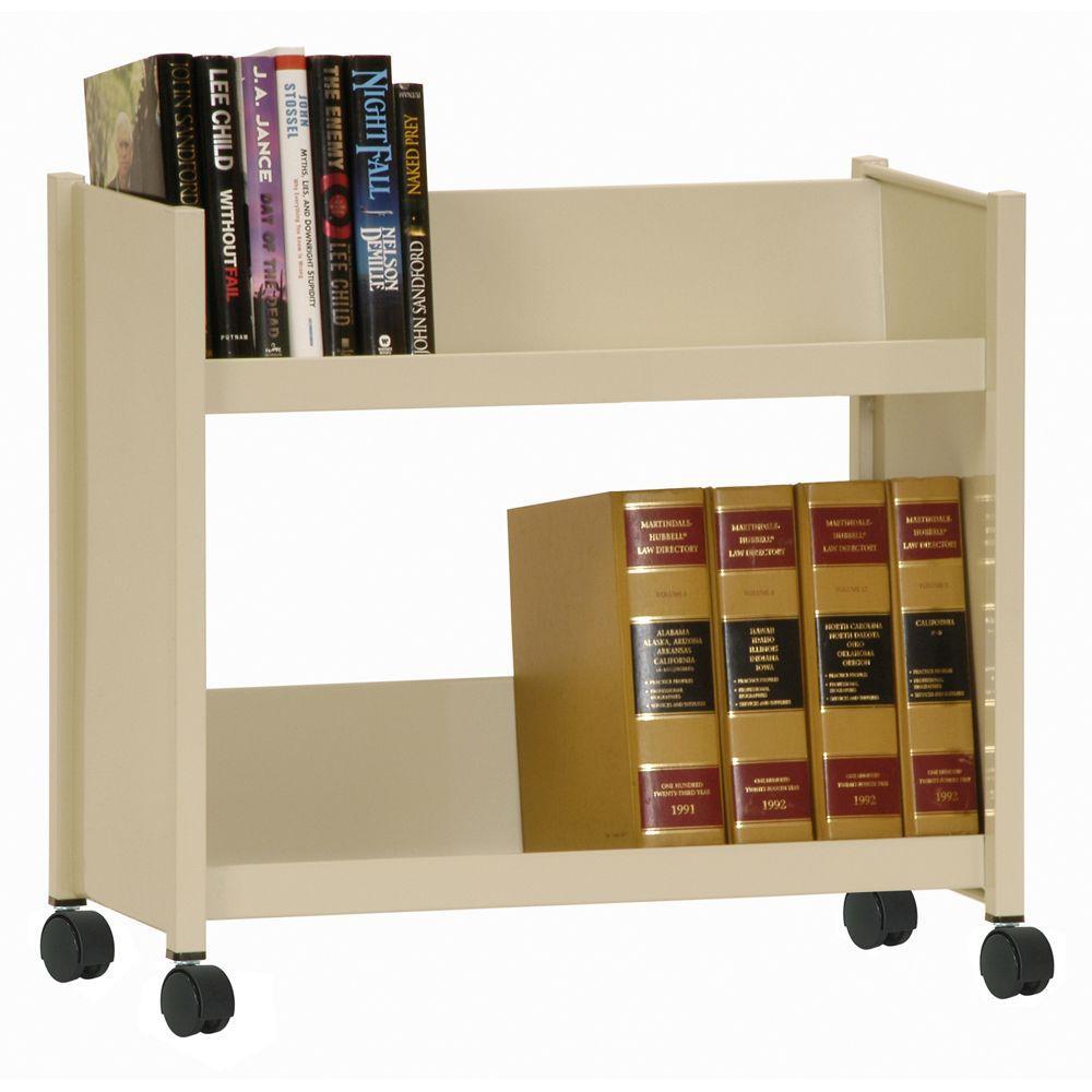 2-Sloped Shelf Welded Booktruck in Putty