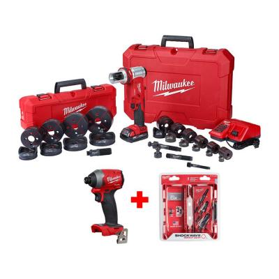 M18 18-Volt Lithium-Ion 1/2 in. to 4 in. Force Logic 6 Ton Cordless Knockout Tool Kit with Impact Driver and Step Bits