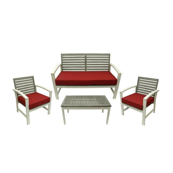 CC Outdoor Living 4-Piece Gray and White Acacia Wood Outdoor Patio