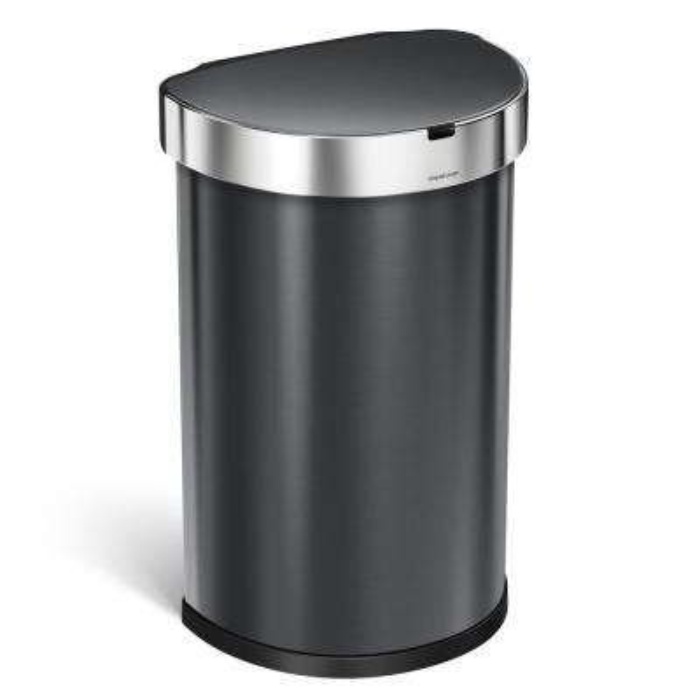 45 l Black Stainless Steel Semi-Round Sensor Trash Can
