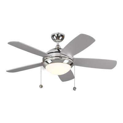 Discus Classic 44 in. Integrated LED Polished Nickel Ceiling Fan with 3000K Light Kit