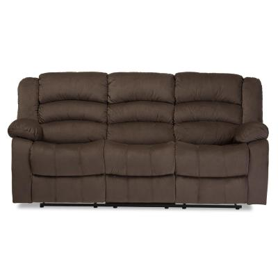 Hollace 80.7 in. Taupe Polyester 4-Seater Motion Reclining Sofa with Square Arms