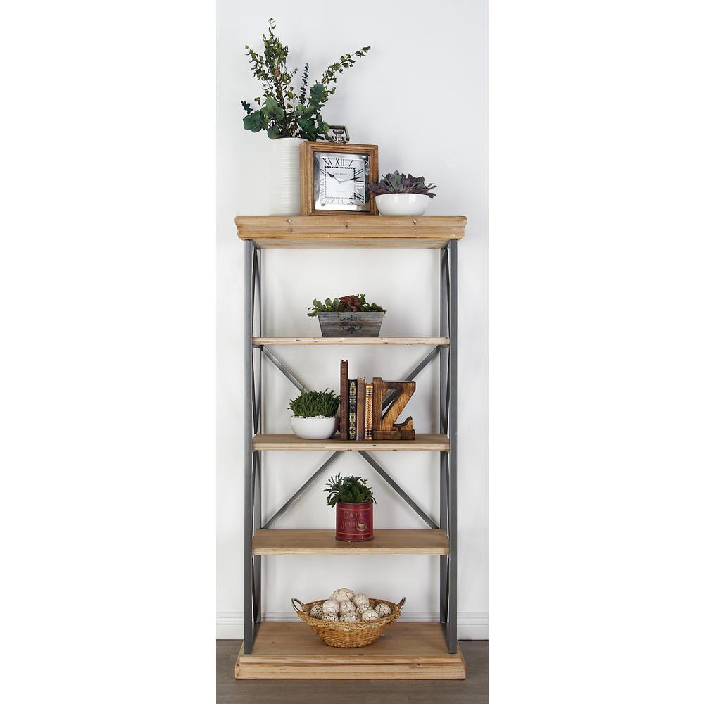 Light Brown 5-Tier Rectangular Shelf