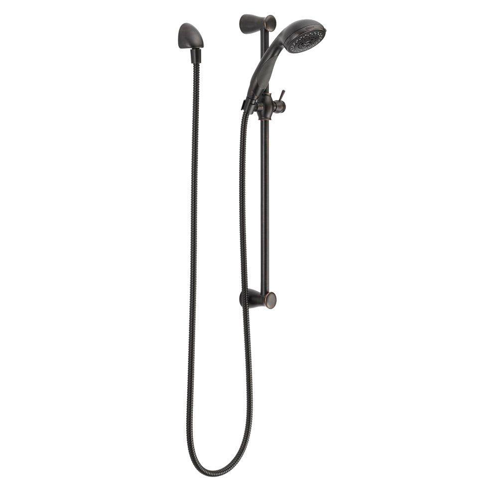 delta 3 spray slide bar hand shower in venetian bronze 57014 rb the home depot. Black Bedroom Furniture Sets. Home Design Ideas
