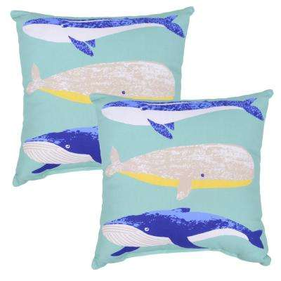 Whale Square Outdoor Throw Pillow (2-Pack)