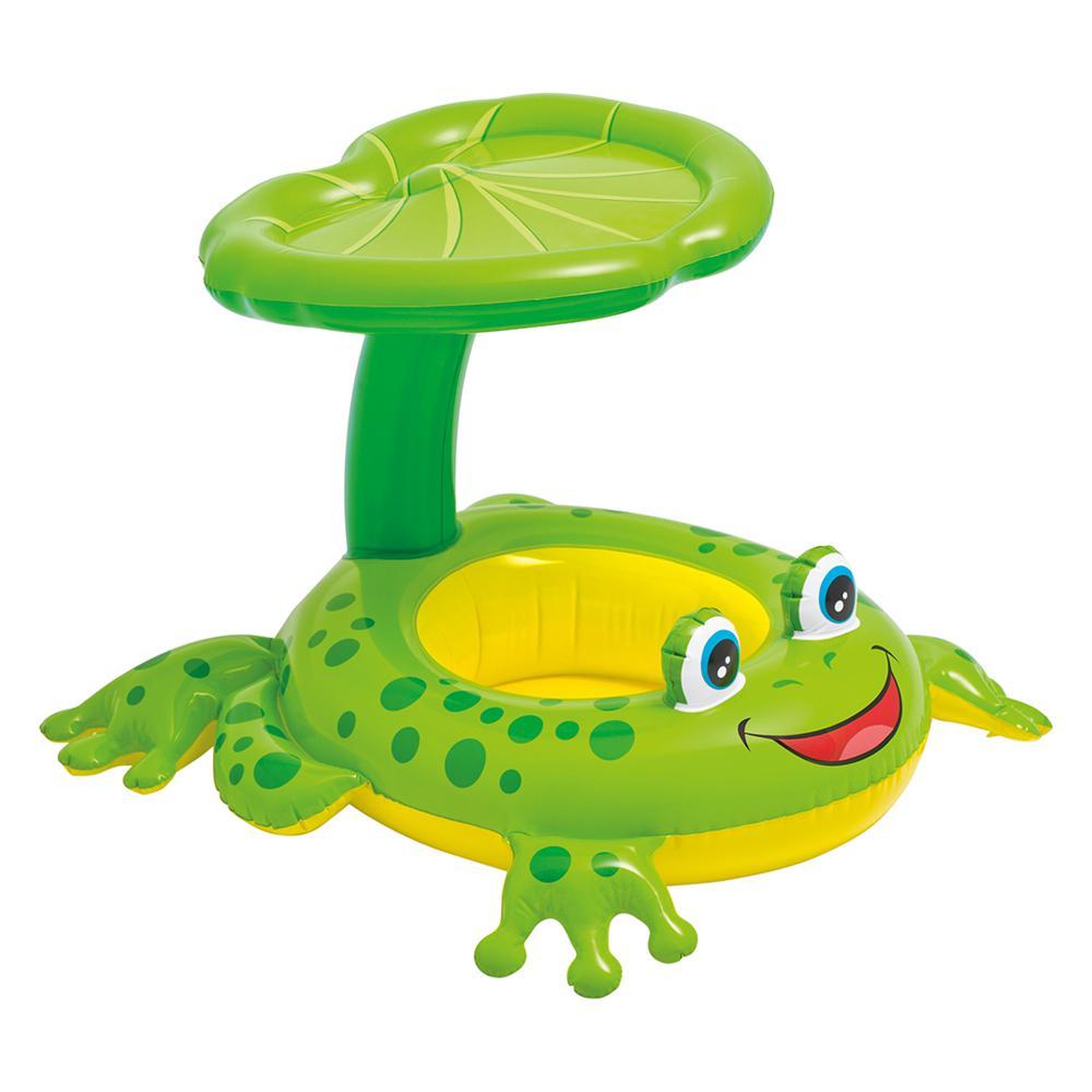 Froggy Friend Shaded Canopy Baby Kiddie Pool Floating Raft